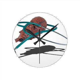 StethoscopeWrappedAroundMedicalHeart092715 Round Clock