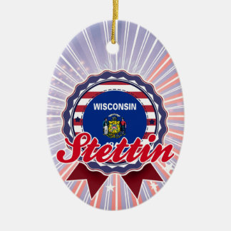 Stettin, WI Double-Sided Oval Ceramic Christmas Ornament