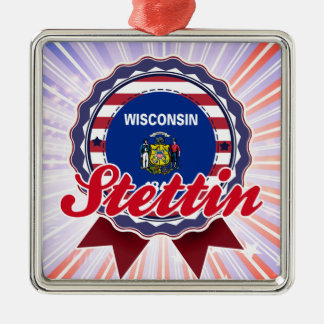 Stettin, WI Square Metal Christmas Ornament