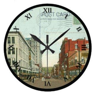 Steubenville Ohio Postcard Clock - Market St 1940