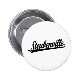 Steubenville script logo in black button
