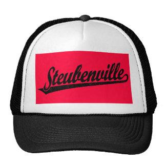Steubenville script logo in black distressed trucker hat