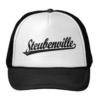 Steubenville script logo in black trucker hat