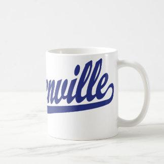 Steubenville script logo in blue coffee mugs