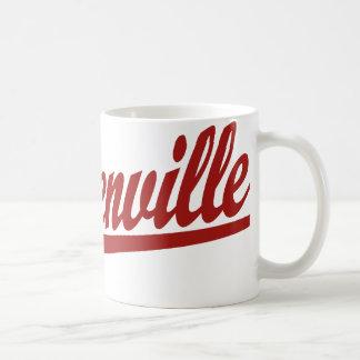 Steubenville script logo in red coffee mugs