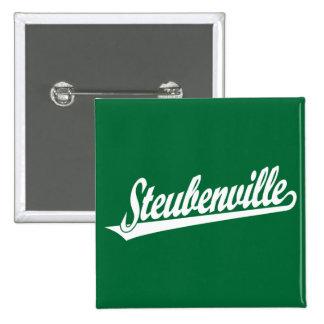 Steubenville script logo in white button
