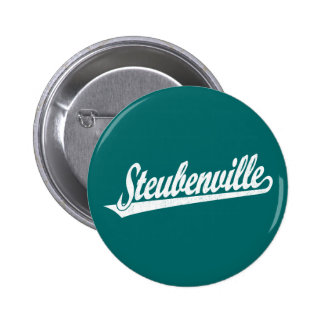 Steubenville script logo in white distressed button