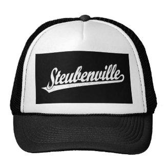 Steubenville script logo in white distressed trucker hat