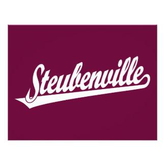 Steubenville script logo in white flyer