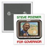 Steve 2010 Poizner para el botón del cuadrado del  Pins