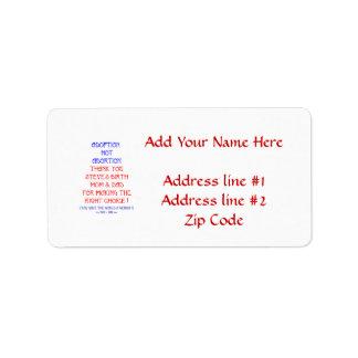 "Steve ""Adoption not Abortion..."" Personalized Address Label"