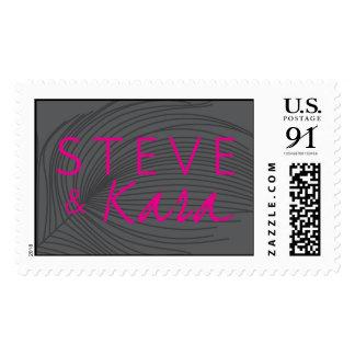 Steve and Kara Feather Monogram Postage Stamp