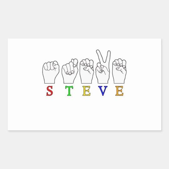 STEVE FINGERSPELLED ASL SIGN RECTANGULAR STICKER