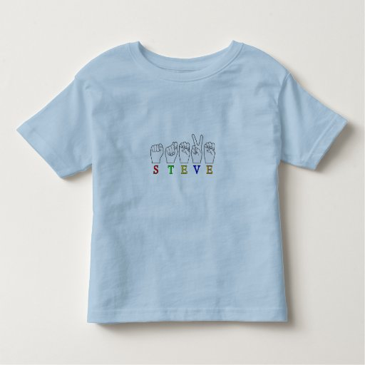 STEVE FINGERSPELLED ASL SIGN T-SHIRTS