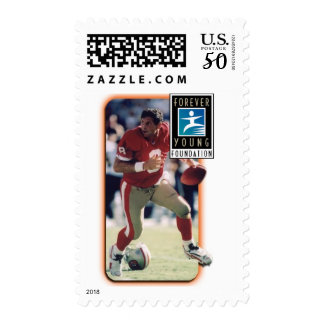 Steve_football with border, Forever Young Logo Postage
