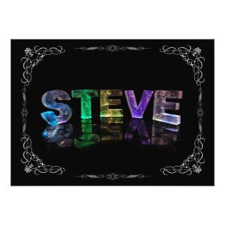 Steve  - The Name Steve in 3D Lights (Photograph) Photo Print