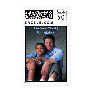 Steve with little boy, Forever Young Foundation Postage