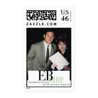 Steve Young and girl, EBMRF logo postage