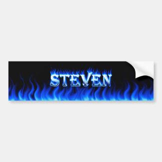 Steven blue fire and flames bumper sticker design car bumper sticker