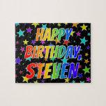 "[ Thumbnail: ""Steven"" First Name, Fun ""Happy Birthday"" Jigsaw Puzzle ]"