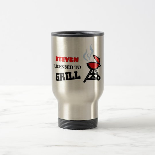 Steven licensed to grill travel mug