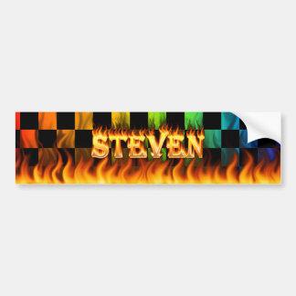 Steven real fire and flames bumper sticker design car bumper sticker