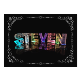 Steven  - The Name Steven in 3D Lights (Photograph Photo Print