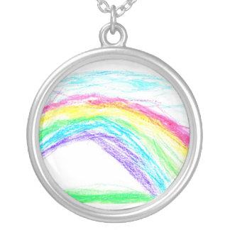 Steven's rainbow round pendant necklace