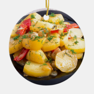 Stew of potatoes with onion, bell pepper and dill ceramic ornament