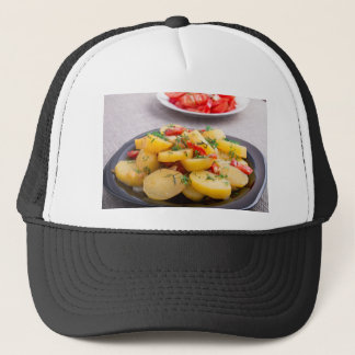 Stew of potatoes with onion, bell pepper, fennel trucker hat