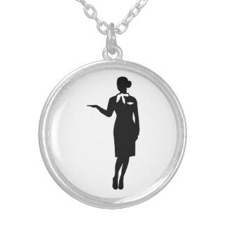 Stewardess airline silver plated necklace