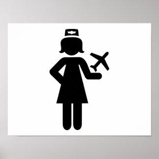 Stewardess plane poster
