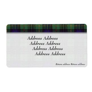 Stewart clan Hunting Plaid Scottish tartan Label