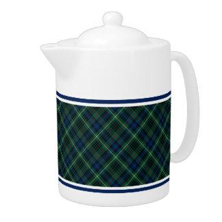 Stewart Clan Hunting Tartan Green and Blue Plaid Teapot