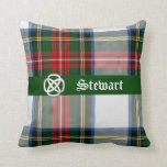 "Stewart Dress Tartan Plaid Pillow<br><div class=""desc"">Red, white, blue, and green tartan plaid accent pillow, done in the Scottish Stewart Dress pattern. Graphics of a bold green band across the middle front, with a silver tone and white Celtic knot, on the left side. White old world text reads Stewart, and is customizable to read anything you...</div>"