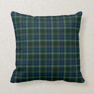 Stewart Hunting Tartan Green and Blue Plaid Throw Pillow