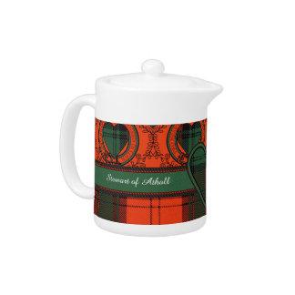 Stewart of Atholl clan Plaid Scottish tartan Teapot