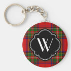 Stewart Plaid Monogram Keychain