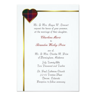 Stewart Red Plaid Heart Wedding Invitation