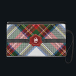 "Stewart Tartan Plaid Monogram Wristlet<br><div class=""desc"">Lovely wristlet clutch bag done in the colorful Stewart tartan plaid pattern. Graphics of a black belt style band, across the front, has a red wax seal decoration, with a white one letter monogram. Personalize the monogram for yourself or as a great gift idea. Perfect small hand bag for day...</div>"