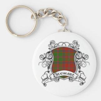 Stewart Tartan Shield Keychain