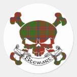Stewart Tartan Skull Round Sticker
