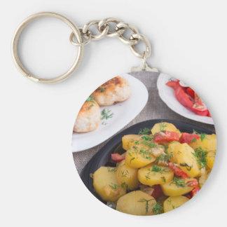 Stewed potatoes, meatballs minced chicken keychain