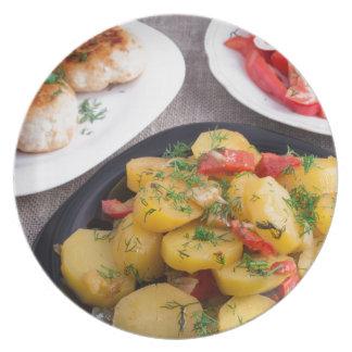 Stewed potatoes, meatballs minced chicken melamine plate