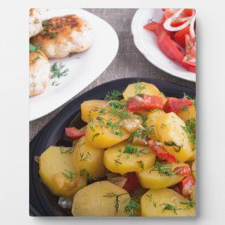 Stewed potatoes, meatballs minced chicken plaque