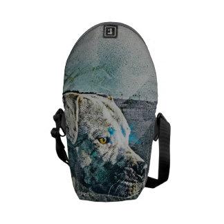 Stewie Pitbull dog portrait in Ocean beach SanFran Messenger Bag