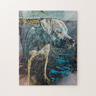 Stewie: Retrato del perro de Pitbull en la playa S Puzzles