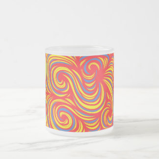 Stflorant Abstract Expression Yellow Red Blue 10 Oz Frosted Glass Coffee Mug