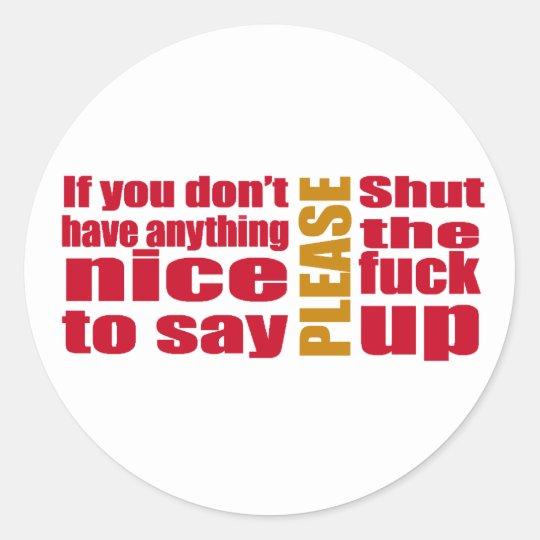 stfu classic round sticker