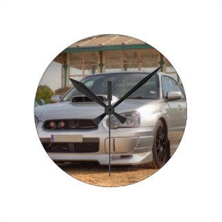STi de Subaru Impreza - Equipo del cuerpo (plata) Reloj Redondo Mediano